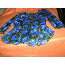 Blusa De Seda Floreada En Varios Colores.