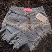 Shorts Cos Alto Cintura Alta Desfiado Hot Creme Detalhes