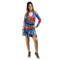 Vestido Banna Hanna Estampado Com Aplicação Em Renda Floral