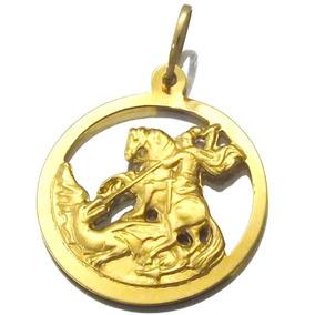 Pingente Medalha De Sao Jorge Em Ouro Amarelo 18k J19057