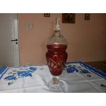 Potiche Antiguo De Cristal Color Rubí Tallado