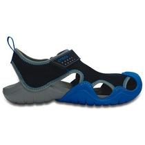 Sandalia Crocs Caballero Swiftwater Sandal Azul/gris
