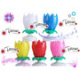 Vela Flor Giratoria Musical Ideal Para Cumpleaños Fiestas