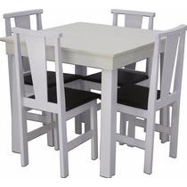 Conjunto Sala De Jantar 4 Cadeiras Pop Branco - S&a Móveis