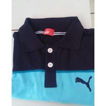 Camisa Playera Tipo Polo Puma Color Negro Aqua