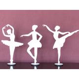 5 Bailarinas 30cm Mdf Branco Lembranças Festas Decoração