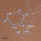 Set Joyas Conjunto Collar, Arete Y Pulsera De Plata 925