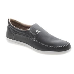 Zapato De Hombre Náutico Cuero Gris (base Blanca)