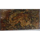 Antigua Pintura Y Tallado En Madera Rupestre Dragón Chino