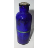 Antiguo Frasco De Farmacia Vidrio Azul Cobalto 24 Cm. Altura