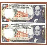 Billetes Antiguos De 50 Bs. , Seriales Bajos S-8 De 1988