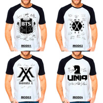 Camiseta Bts Exo Monsta X Uniq Autografos Escolha O Modelo