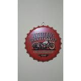 Letrero Tapa Adorno Metal Vintage Publicidad Harley Davidson