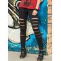 Calça Legging Destroyed Giletada Rasgada Fitness Academia