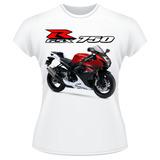 Baby Look Moto Suzuki Gsx R 750 Srad Vermelha Gsxr Feminina