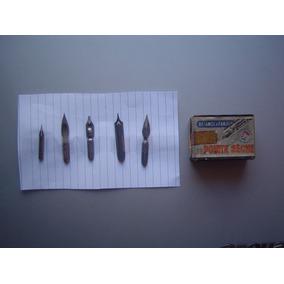 5 Pena Para Caneta Nankin -mais Caixinha Antiga - Leia