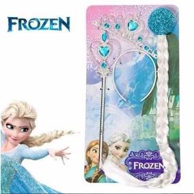 Impredível!! Kit Frozen Da Elsa Com Coroa Trança E Varinha