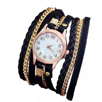 Pulseira Relógio Feminino Vintage Retro De Couro Lindo