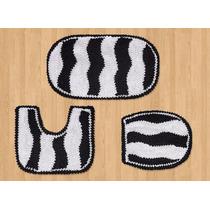 Kit Tapetes Banheiro Zebra Preto E Branco Malha Gel 3 Pçs