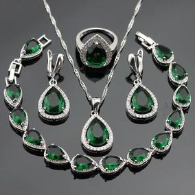Set De Anillo Collar Y Aretes Cristal Esmeralda