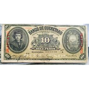 Billete Banco De Queretaro 10 Pesos Resello Irapuato
