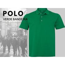 Camiseta Camisa Blusa Polo Verde Bandeira, Clássica Botão