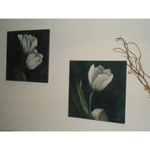 Arte Pintura Oleo Cuadro Moderno Decorativo Flores Diptico