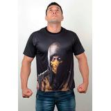 Camisa Camiseta Game Mortal Kombat Scorpion Estampa Dry Fit