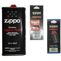 Paquete Zippo Gasolina 355 Ml Lighter Fluid Mecha 6 Piedras