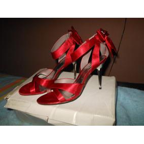 Sandália Salto Alto Cromado Em Cetim Vermelha ( Top )