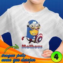 Minions Camiseta Infantil Malvado Favorito Camisa Seu Nome