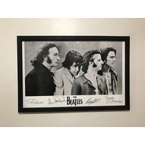 Cuadro Decorativo The Beatles Con Firma Y Autógrafo