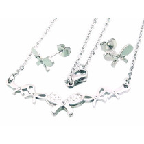 Set De Joyería Acero Collar Aretes Diseño Moño Con Zirconias