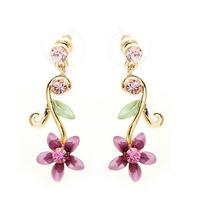 Pendientes Glamorousky Púrpura Flor De Oro De L Envío Gratis