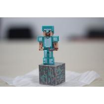 Minecraft Boneco Steve + Picareta - Pronta Entrega