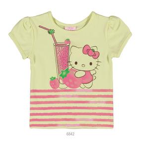 Blusa Infantil Feminina Hello Kitty Estampada Manga Curta