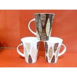 Taza Conica Grande Decorada Porcelana Pack X 6 Unidades