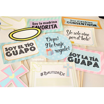 10 Props Letreros Para Fotos Bodas Bautizos Cumples Comunión
