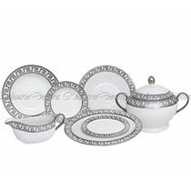 Jogo De Jantar Porcelana Nobre Design Grego Prateado 41 Pçs