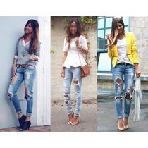 Jeans Pantalon Estilo Roto Denim A La Moda Bota Tubito