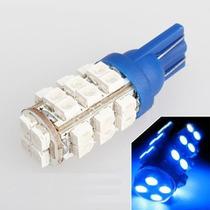 Lâmpada 28 Leds T10 W5w Azul Neon Farolete Pisca Placa