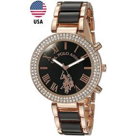 Reloj Mujer Dama Us Polo 40090 Dorado Negro Estuche