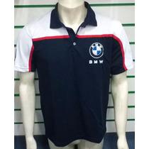 Camisa Pólo Bmw Motorrad Bordada Azul/branca/vermelha