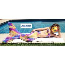 Cola De Sirena Adolescente Con Bikini Colores Con Holograma