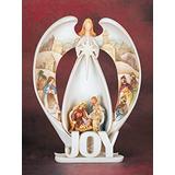 Pesebre Encendió La Alegría Angel Figurilla Con Natividad