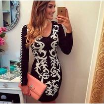 Vestido Roupa Feminina Tricot Tricô Estampa Moda Blogueiras