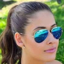 Oculos Rayban Original Aviador Azul Espelhado Feminino Masc