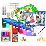Set Escolar 13 Cuaderno Lapices Marcadores Block Y Mas