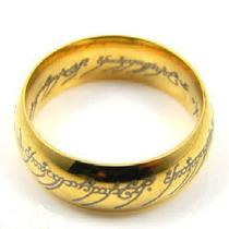 Anel Dourado Banhado Á Ouro 18k Senhor Dos Anéis Aço 6mm
