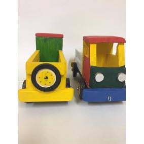 Caminhão Em Madeira Miniatura - Colorido - Carroceria